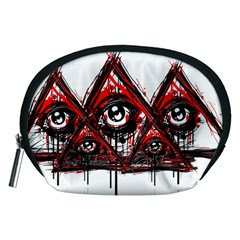 Red White Pyramids Accessory Pouch (medium) by teeship