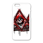 Red White pyramids Apple iPhone 6 White Enamel Case Front