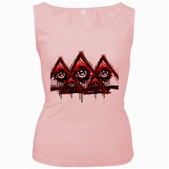 Red White Pyramids Women s Tank Top (pink)