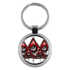 Red White Pyramids Key Chain (round) by teeship