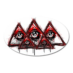 Red White Pyramids Magnet (oval) by teeship