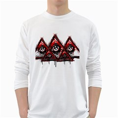 Red White Pyramids Men s Long Sleeve T Shirt (white) by teeship