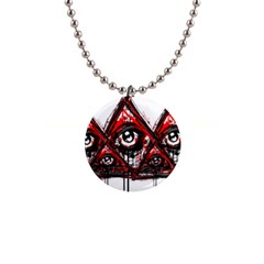 Red White Pyramids Button Necklace by teeship
