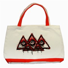 Red White Pyramids Classic Tote Bag (red)