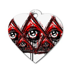 Red White Pyramids Dog Tag Heart (two Sided) by teeship