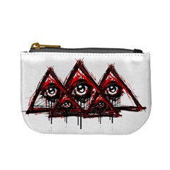 Red White Pyramids Coin Change Purse by teeship