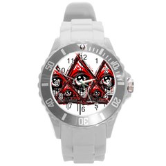 Red White Pyramids Plastic Sport Watch (large) by teeship
