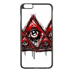Red White Pyramids Apple Iphone 6 Plus Black Enamel Case by teeship