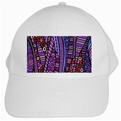 Stained Glass Tribal Pattern White Baseball Cap by KirstenStar