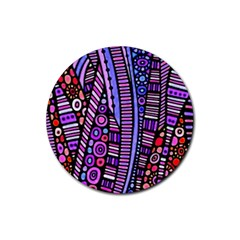 Stained Glass Tribal Pattern Drink Coasters 4 Pack (round) by KirstenStar
