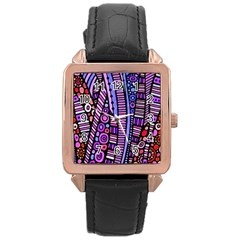 Stained Glass Tribal Pattern Rose Gold Leather Watch  by KirstenStar