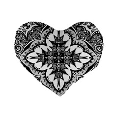 Doodle Cross  Standard 16  Premium Flano Heart Shape Cushion  by KirstenStar