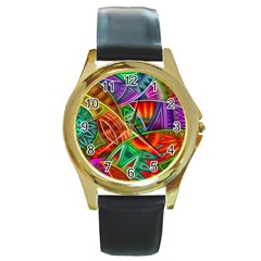 Happy Tribe Round Leather Watch (gold Rim)  by KirstenStar