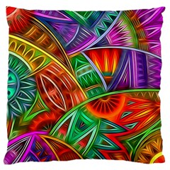 Happy Tribe Large Cushion Case (two Sided)  by KirstenStar