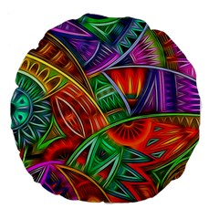 Happy Tribe Large 18  Premium Flano Round Cushion  by KirstenStar
