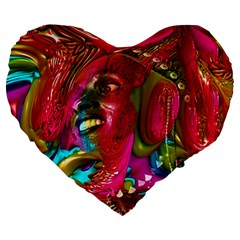 Music Festival Large 19  Premium Flano Heart Shape Cushion by icarusismartdesigns