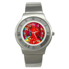Mardi Gras Stainless Steel Watch (slim) by icarusismartdesigns
