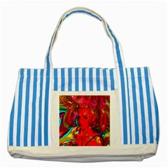Mardi Gras Blue Striped Tote Bag by icarusismartdesigns