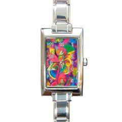 Colorful Floral Abstract Painting Rectangular Italian Charm Watch by KirstenStar