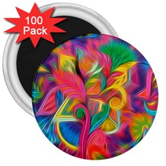 Colorful Floral Abstract Painting 3  Button Magnet (100 Pack) by KirstenStar