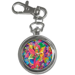 Colorful Floral Abstract Painting Key Chain Watch by KirstenStar