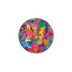 Colorful Floral Abstract Painting Golf Ball Marker by KirstenStar