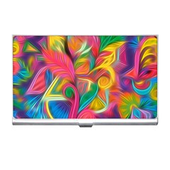 Colorful Floral Abstract Painting Business Card Holder by KirstenStar