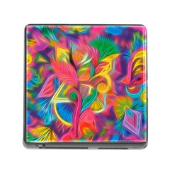 Colorful Floral Abstract Painting Memory Card Reader With Storage (square) by KirstenStar