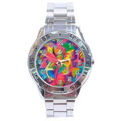 Colorful Floral Abstract Painting Stainless Steel Watch by KirstenStar