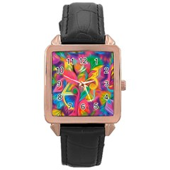 Colorful Floral Abstract Painting Rose Gold Leather Watch  by KirstenStar