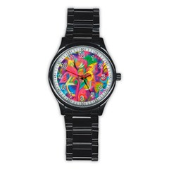 Colorful Floral Abstract Painting Sport Metal Watch (black) by KirstenStar