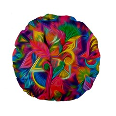 Colorful Floral Abstract Painting Standard 15  Premium Flano Round Cushion  by KirstenStar