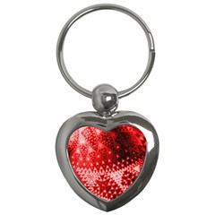 Red Fractal Lace Key Chain (heart) by KirstenStar