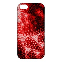 Red Fractal Lace Apple Iphone 5c Hardshell Case by KirstenStar