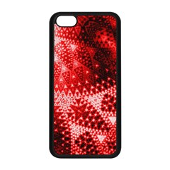Red Fractal Lace Apple Iphone 5c Seamless Case (black) by KirstenStar
