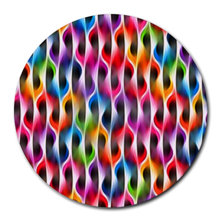 Rainbow Psychedelic Waves 8  Mouse Pad (Round)