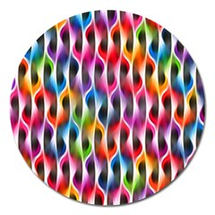 Rainbow Psychedelic Waves Magnet 5  (round) by KirstenStar