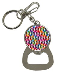 Rainbow Psychedelic Waves Bottle Opener Key Chain by KirstenStar
