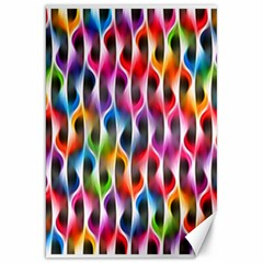 Rainbow Psychedelic Waves Canvas 20  X 30  (unframed) by KirstenStar