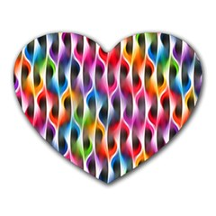 Rainbow Psychedelic Waves Mouse Pad (heart) by KirstenStar
