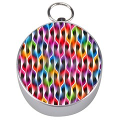Rainbow Psychedelic Waves Silver Compass by KirstenStar