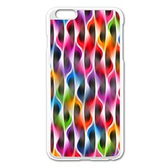 Rainbow Psychedelic Waves Apple Iphone 6 Plus Enamel White Case by KirstenStar