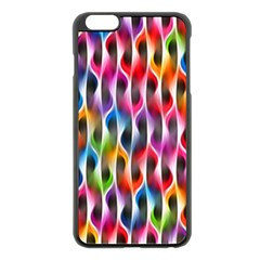 Rainbow Psychedelic Waves Apple Iphone 6 Plus Black Enamel Case by KirstenStar