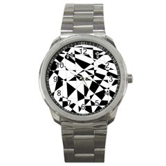 Shattered Life In Black & White Sport Metal Watch by StuffOrSomething