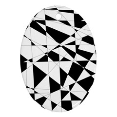Shattered Life In Black & White Oval Ornament (two Sides) by StuffOrSomething