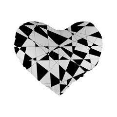 Shattered Life In Black & White Standard 16  Premium Heart Shape Cushion  by StuffOrSomething