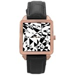 Shattered Life In Black & White Rose Gold Leather Watch  Front