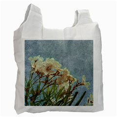 Floral Grunge Vintage Photo White Reusable Bag (two Sides)