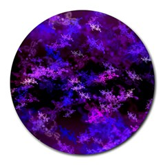 Purple Skulls Goth Storm 8  Mouse Pad (round) by KirstenStar