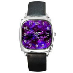 Purple Skulls Goth Storm Square Leather Watch by KirstenStar